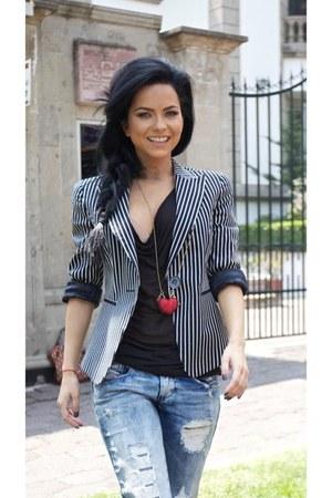 black H&M blazer - light blue c&a jeans - red Accessorize necklace