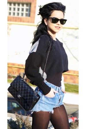 light blue c&a shorts - gray H&M sweater - black Chanel purse