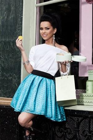 white H&M skirt - sky blue H&M skirt - black Forever 21 boots