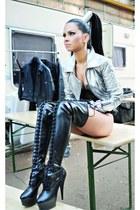 black Christian Louboutin boots - silver H&M jacket