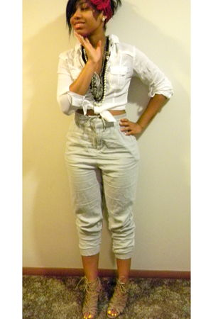 white Forever21 blouse - gray H&M pants - brown shoes - black Chanel accessories