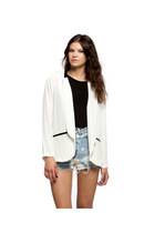 BORROWED TUXEDO CONTRAST SHEER BLAZER-WHITE