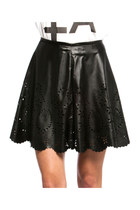 NIGHT OUT LASER CUT SCALLOPED HEM SKATER SKIRT HIGH RISE-INSANE JUNGLE