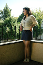 beige vintage sweater - blue American Apparel dress - brown CMG shoes - white Fo