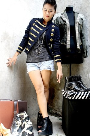 black Parisian shoes - BESTFINDS THRIFTSHOP blazer - WAGW shorts - silver DIY by