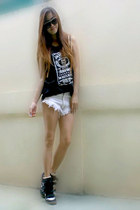 black Isabel Marant shoes - white oneteasepoon shorts
