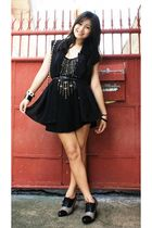 black Forever 21 - black random brand blouse - black random brand belt -  - rand