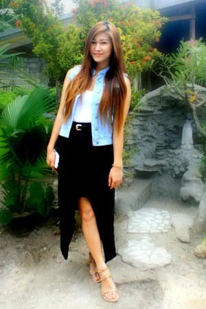 sky blue Ralph Lauren vest - black DIY skirt - white Forever 21 top
