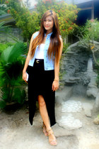 sky blue Ralph Lauren vest - black DIY skirt - white Forever 21 top