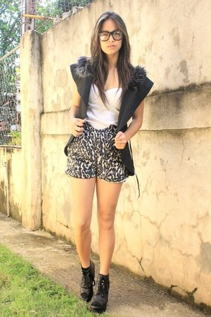lace up booties Parisian shoes - animal print thrifted shorts - bustier BESTFIND