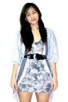 silver random brand dress - silver sm department store cardigan - black BEST FIN