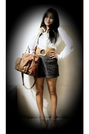 white blouse - brown random brand shorts - brown random brand - Anne Marie