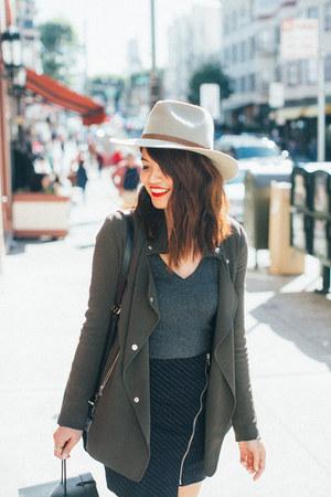 black asos boots - silver Goorin Bros hat - olive green Aritzia jacket