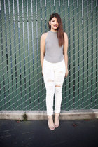 silver knit crop top Fevrie top - white Missguided jeans