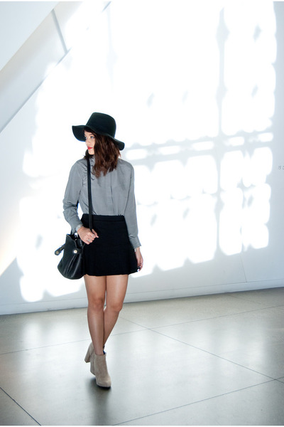 black Urban Outfitters hat - beige suede asos boots