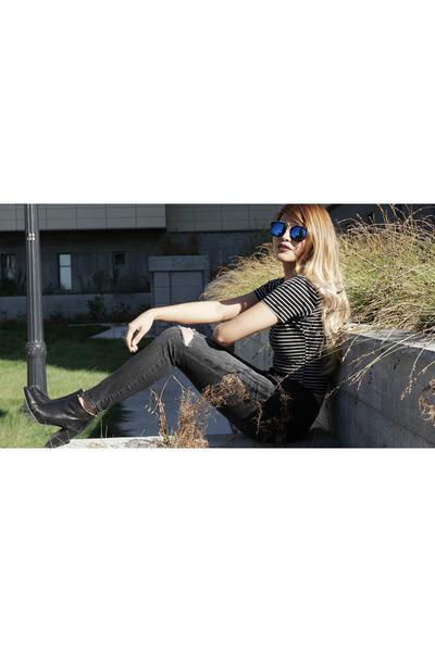 blue zeroUV sunglasses - black Zara boots - black Target jeans