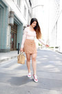 Nude-crossbody-coach-bag-tan-suede-poshsquare-skirt