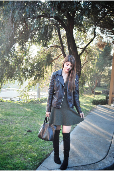 dark brown leather biker blank nyc jacket - black Ivanka Trump boots