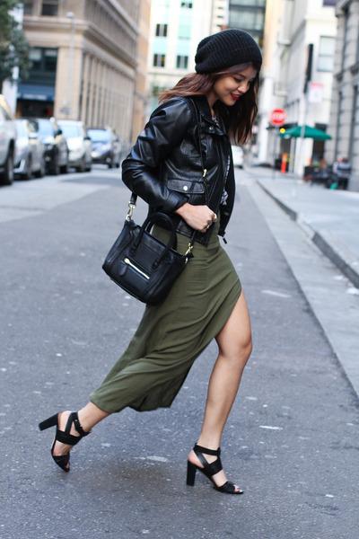 olive green slit LuLus skirt - black beanie Urban Outfitters hat
