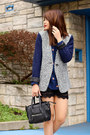 Blue-tweed-blazer-jyjz-jacket-navy-alanis-obey-shirt-black-mimi-boutique-bag