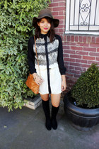 black suede knee-high Ivanka Trump boots - ivory lace Alyssa Nicole dress