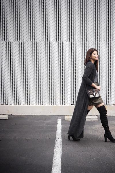 gray maxi Zara cardigan - black calvin klein boots