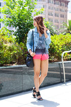 heather gray tie-dye others follow top - light blue denim vintage Levis jacket