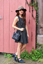 black say Freda Salvador boots - black JYJZ dress - brown Urban Outfitters hat