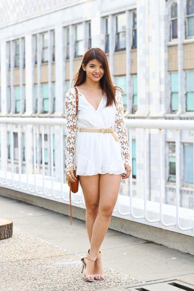 ivory lace floral Pop Cherry romper - tawny mini mac Rebecca Minkoff bag