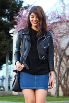 black leather cropped Nasty Gal jacket - black coach bag
