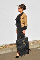 camel Moschino jacket - dark brown Missoni sunglasses - black Zara skirt
