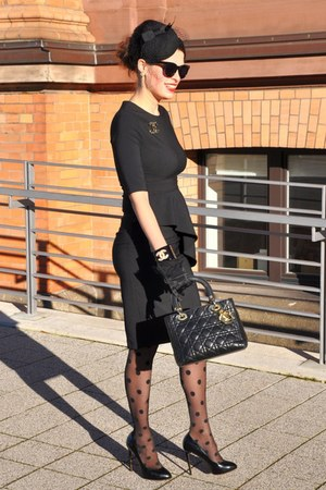 black Orsay dress - black Alfredo Pauly hat - black dior bag