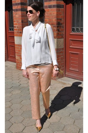 cream Zara blouse - gold H&M pants - gold Zara heels