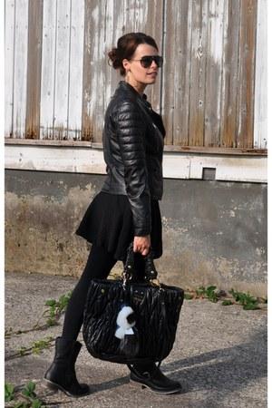 black Rieker boots - black Oakwood jacket - black Miu Miu bag