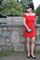 red lookbookstore dress - black Juma bag - black roberto cavalli glasses