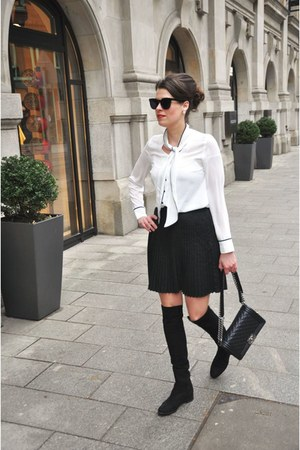 black Claudia Obert shoes - black Chanel bag - cream Orsay blouse