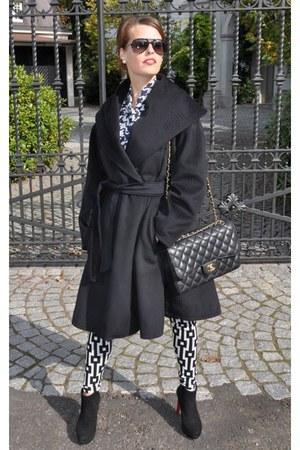 black Phillip Hardy boots - black DiY sewing coat - black H&M Trend leggings