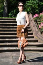 burnt orange Zara skirt - tawny dior bag - gold Pilgrim earrings