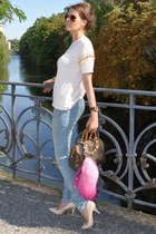 sky blue H&M jeans - neutral H&M shirt - brown Louis Vuitton bag