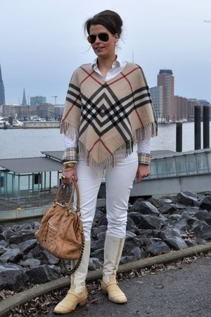 ivory Burberry blouse - tan Belstaff boots - off white Rock & Republic jeans