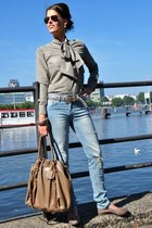 light brown DiY sewing blouse - tan Prada bag - crimson Ray Ban sunglasses