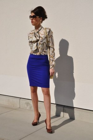 white DIY blouse - crimson Missoni sunglasses - blue H&amp;M skirt
