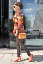 brown Missoni cardigan - dark brown Zara leggings - carrot orange MCM bag