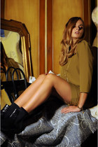 mustard COS dress - Celine bag - black baldinini flats