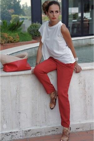 cream Angela Caputi bracelet - ruby red Celine bag - cream Zara top