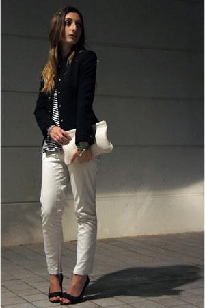 black Zara top - ivory Miu Miu bag