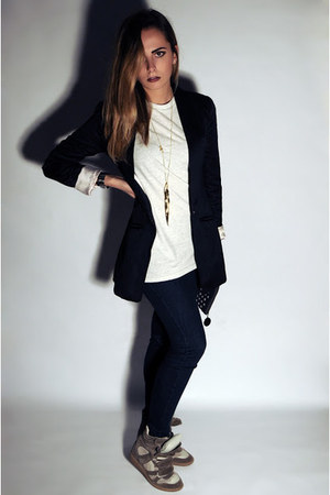 black H&M blazer - navy Calzedonia leggings - off white H&M Man t-shirt