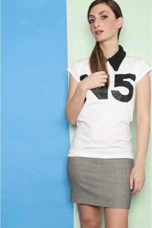 number 15 t-shirt - asos heels - vintage skirt - Camiceria Baldini accessories