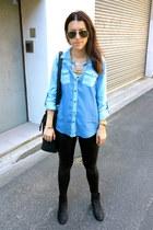 Sportsgirl top - Topshop boots - Nasty Gal bag - rayban sunglasses