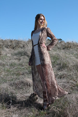 sheer free people coat - lace H&M dress - studded sam edelman sandals